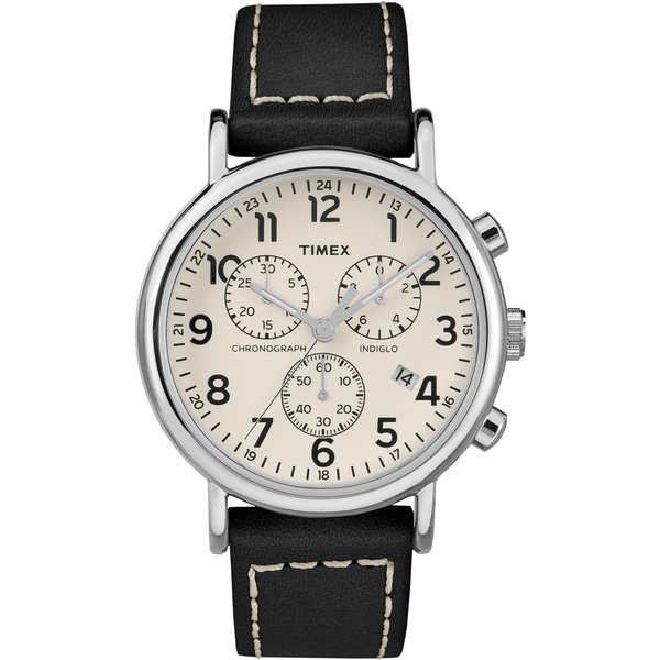 【TIMEX】天美時 Weekender Chrono 週末系列 三眼計時手錶(白/黑 TXTW2R42800)