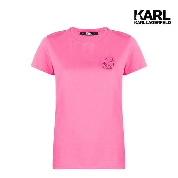 【KARL LAGERFELD】鑽飾小KARL剪影T恤-粉紅 (原廠公司貨)