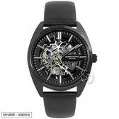 【台南 時代鐘錶 Kenneth Cole】KC50064001 美式潮流 經典品味鏤空機械錶 皮帶 黑鋼 42mm