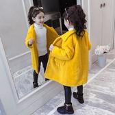 中大童韓版外套 加絨中長款潮流夾克兒童裝棉服 女孩毛呢保暖百搭女童外套 洋氣秋冬羽絨服