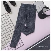 Catworld 設計感印花高腰提臀運動褲【12002067】‧S-2XL