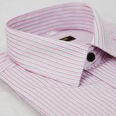 【金‧安德森】粉色條紋黑釦窄版短袖襯衫