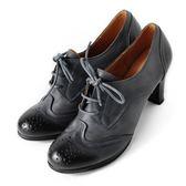 DeSire  英倫學院風花邊綁帶真皮牛津鞋  -藍