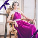 東京衣服-羅馬圓環亮片繞頸性感裸胸長禮服 紫色