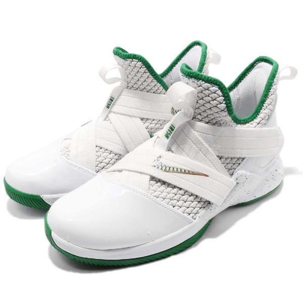 Nike Lebron Soldier XII GS 12 SVSM 白 綠 金 士兵 女鞋 大童鞋 籃球鞋 XDR 【PUMP306】 AA1352-100