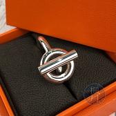 BRAND楓月 HERMES 愛馬仕 925純銀 圖騰釦環裝飾 戒指 銀戒 銀飾 飾品 配件 #59