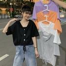 韓版學生ins潮下擺抽繩設計感短款上衣2021夏季新款連帽短袖t恤女 【端午節特惠】