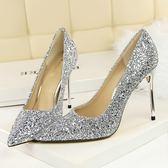 中大尺碼 婚禮銀色細跟尖頭高跟鞋漸變色亮片婚鞋單鞋 ZQ577【衣好月圓】