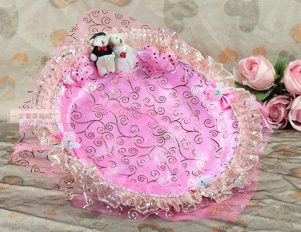 一定要幸福哦~~幸福對熊煙盤、喜糖盤(粉色) ~ 婚禮小物、喜糖盤、結婚宴客