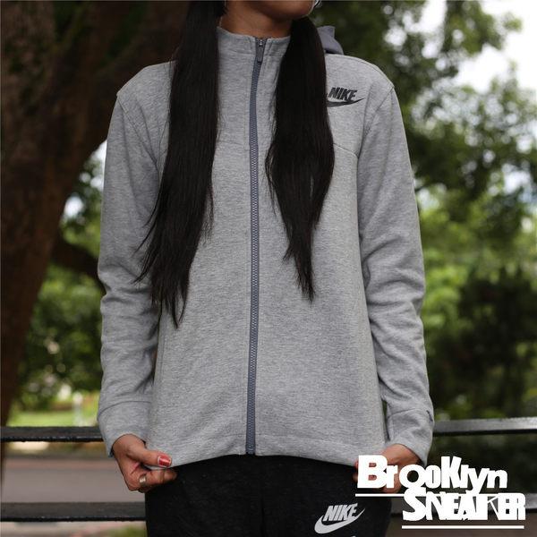 Nike AV15 Fleece Cape Women 灰 左胸 LOGO 防風 連帽 外套 女 (布魯克林) 2016/9月 822147-063