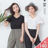 竹節棉T恤 純色素面款V領上衣-BAi白媽媽【305022】