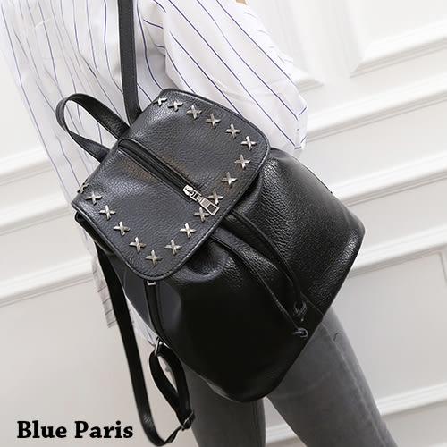 包包 X鉚釘束口拉鍊後背包 手提包 側肩包 斜背包【21559】藍色巴黎