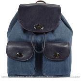 茱麗葉精品【全新現貨】 COACH 37975  牛仔拼接雙口袋後背包.深藍