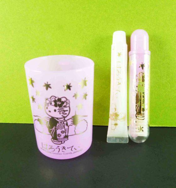【震撼精品百貨】Hello Kitty 凱蒂貓~牙刷膏組-和風圖案/紫色