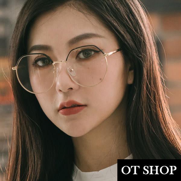 OT SHOP眼鏡框‧韓版歐美時尚金屬鏡框半框雙色設計平光眼鏡‧簡約韓風文青中性‧現貨‧黑框‧U42