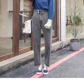 《BA4596》排釦設計小哈倫高棉牛仔寬褲 OrangeBear