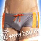 【壞男網購最低價】《型男低腰選手彈性四角泳褲(灰+橘)》【M / L / XL】