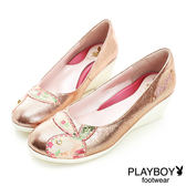 PLAYBOY 蕾絲兔頭 光感 楔型-跟鞋-金