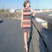 港味復古chic裙子女修身版中長款韓風條紋針織連身裙夏季新款
