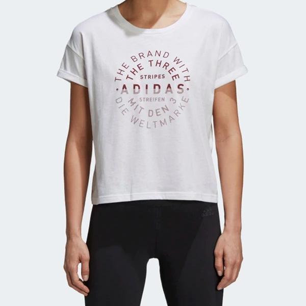 Adidas EMBLEM TEE [DJ1601] 女 運動 休閒 圓領 短袖 上衣 舒適 棉T 愛迪達 白