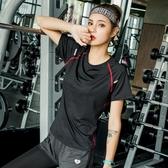 夏季新款瑜伽服短袖女健身房運動跑步上衣速干t恤衫胖mm大碼寬鬆