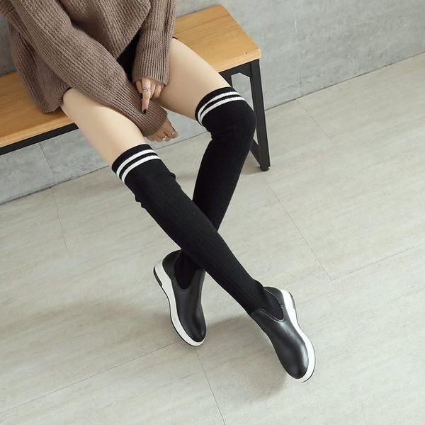《澤米》過膝針織長靴 2017Jammy秋冬新款襪靴 平底 毛線 長筒靴 韓版高筒靴(全館任二件商品免運)