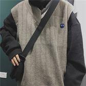韓版男女不規則撞色拼接刺繡V領無袖針織背心 馬甲百搭秋冬毛衣潮『摩登大道』