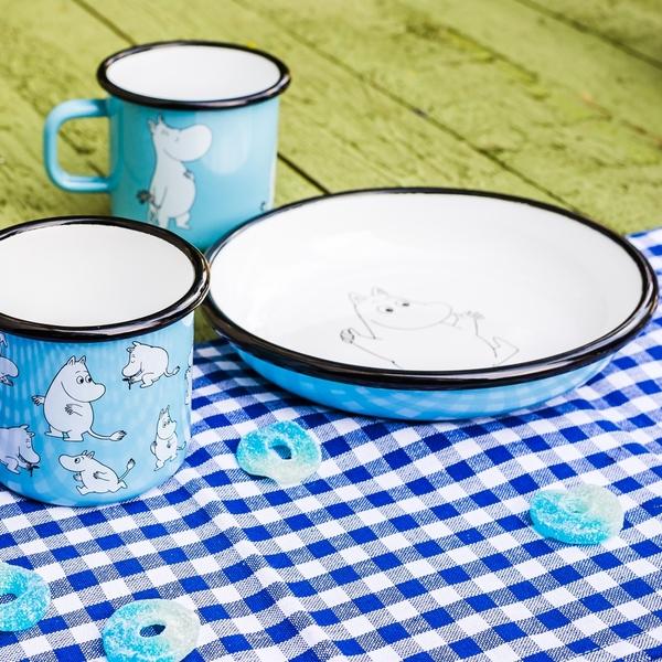 Muurla 嚕嚕米深盤 嚕嚕米 天空藍 18cm 琺瑯盤 餐盤 點心盤【Casa More美學生活】