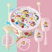 兒童樂器兒童玩具鼓歡樂拍拍鼓樂器小鼓7件敲鼓組合 音樂敲打樂器仿爵士鼓 伊鞋本鋪