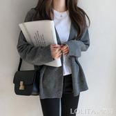 韓國東大門毛衣女開衫潮 秋冬新款女裝純色顯瘦V領針織衫大碼外套 LOLITA