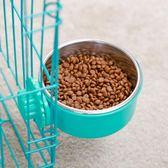 寵物餐具 寵物食盆懸掛式不銹鋼狗碗狗狗用品固定貓盆貓碗狗籠子飲水盆狗盆·快速出貨