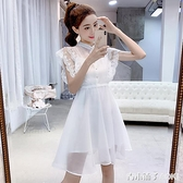 白色網紗拼接蕾絲鉤花洋裝夏季無袖圓領小個子仙女吊帶套裝 青木鋪子
