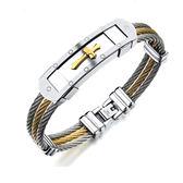 【5折超值價】 【316L西德鈦鋼】情人節禮物最新款時尚精美創意典十字架造型男款鈦鋼手環