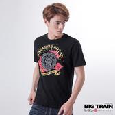 Big Train 唐獅文字圓領T-男-黑-B8061288(領劵再折)