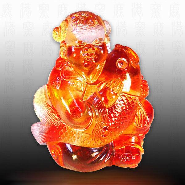 水晶琉璃▲▲吉慶有餘▲▲  ◆附古法制作珍藏保證卡◆免運費送到家