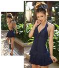 *得來福*G33韓國明星款深藍連身泳衣比基尼泳裝加大泳衣,1套售價980元