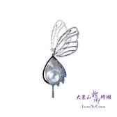 【大東山樑御】彩虹珍珠水滴鑲鑽胸針-蝶舞系列