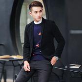 男士青年英倫西服外套韓版潮流休閒單西修身毛呢小西裝男【米蘭街頭】