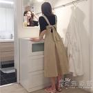 2021夏裝韓版學院風背帶收腰高腰中長款連身裙學生女大擺文藝棉麻 小時光生活館