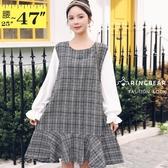 長版上衣--時尚優雅拼接格紋荷葉袖寬鬆A字修身連身裙(灰L-3L)-X329眼圈熊中大尺碼◎