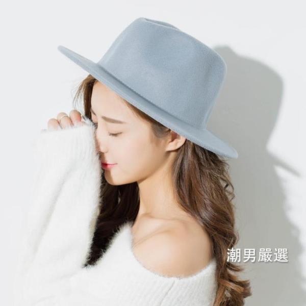 紳士帽正韓黑色毛呢帽子女秋冬韓國復古小禮帽女英倫青年出游百搭爵士帽