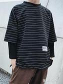 連帽T恤春秋季新長袖T恤男士寬鬆假兩件條紋連帽T恤韓版潮流bf風寬鬆上衣 蓓娜衣都
