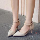 中空高跟涼鞋女細跟尖頭法式少女一字扣包頭女鞋【南風小舖】