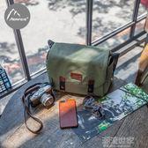 相機包單反佳能斜挎復古迷你微單包便攜尼康防水攝影包單肩女帆布『潮流世家』