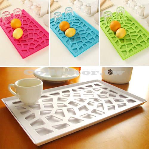 韓版創意時尚托盤 塑料鏤空置物盤 雙層瀝水收納架 水果盤