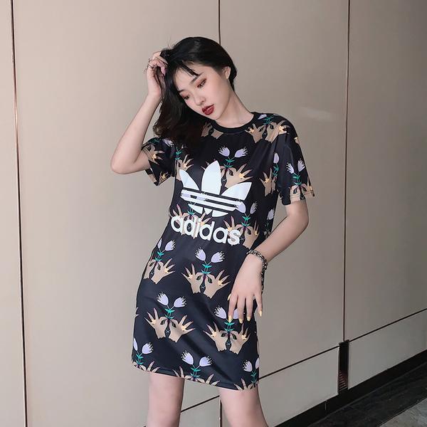adidas Originals 愛迪達 三葉草 長版黑色 粉色 洋裝 短袖t桖 連身T桖 連身裙 長版T/澤米