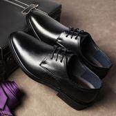 男士皮鞋男軟面皮英倫尖頭男鞋透氣春季西裝黑色商務正裝休閒鞋子