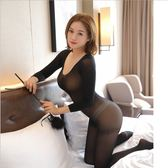 連身褲襪性感情趣高領連身絲襪透明長袖套裝性感露乳歐美超薄女舞蹈夜店裝