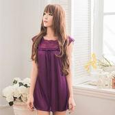 情趣內衣 浪漫深紫色小蓋袖柔緞性感睡衣 情趣睡衣蕾絲款 《SV8863》快樂生活網