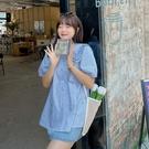 (現貨+預購 FUWAFUWA)-加大尺碼花邊領短袖襯衫